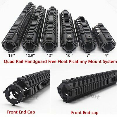 4,7,10,12,12.6,15'' in Free Float Quad Rail Handguard Rifle Hunting With End cap