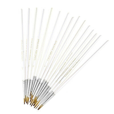 15x White Detail Paint Brush Small Brushes For Acrylic Watercolor Oil Miniature