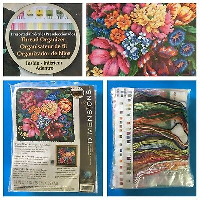 DIMENSIONS Needlepoint Kit FLORAL SPLENDOR 120011 NEW SEALED w/Thread Organizer