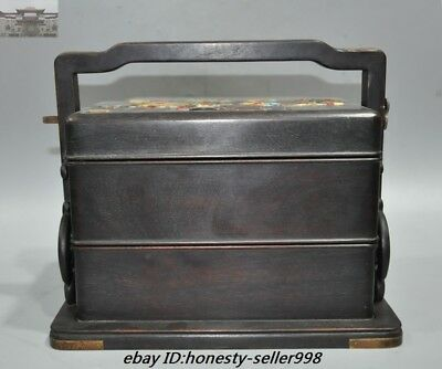Marked Dynasty Palace Roswood Wood inlay Shell flower Food box Food containers