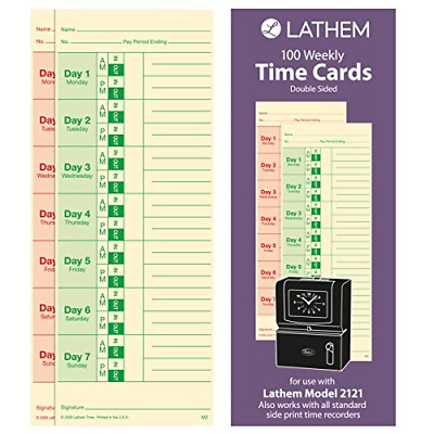 Lathem Weekly Time Cards, Double-Sided, for Lathem Model 2121/Side-Print