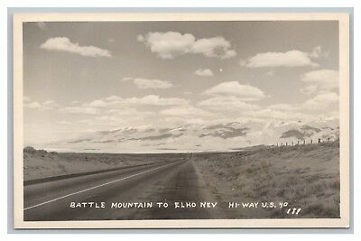 old RPPC real photo postcard Battle Mountain to Elko NEV Hi-way US 40 NV Highway