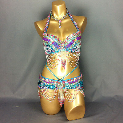 New Belly dance costume Halloween wear Bar+Belt 2pc set Carnival dancing clothes