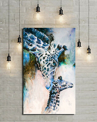Giraffe Botanical Framed Painting Stretched Canvas Prints Art Wall Watercolor
