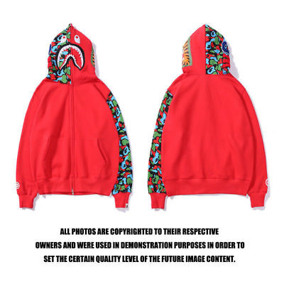 e535ec384bcd NEW Red Camo Hoodie A Bathing Ape Zip Shark Head Bape Cotton Splice Jacket  Coats