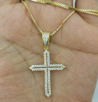 Women 14k Yellow Gold  Sterling Silver Round Diamond Cross Pendant Necklace