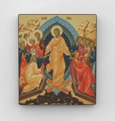 Russian icon. Christ's Resurrection. Wood. Hand-Made. Orthodox Icons