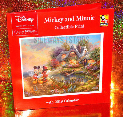 DISNEY THOMAS KINKADE 2019 CALENDAR & PRINT collectible mickey minnie sweetheart