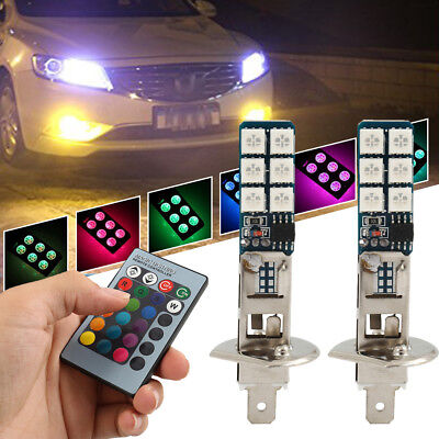 2pcs H1 5050 RGB 12SMD LED Auto Car Headlight Fog Bulb Lamp Light Remote Control