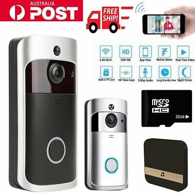 1280*720 Smart Wireless WiFi DoorBell Phone Video PIR Motion Detection Camera AU