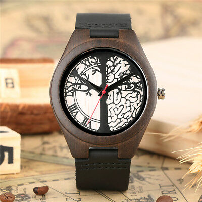 Natural Wooden Watch Handmade Leather Strap Quartz Watches for Mens Fashion