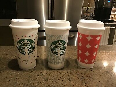 New Starbucks 2018 Christmas Holiday Reusable To-Go Coffee Cups Mugs Set of 3