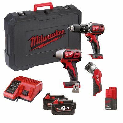 Milwaukee M18BPP2H-413C M18 Percussion Drill & Impact Driver & M12 LED Torch