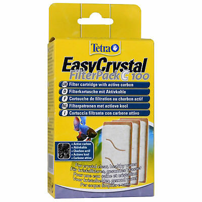Tetra Easy Crystal Filter Pack C100 Charcoal 3-Pack Carbon Aquarium Fish Tank