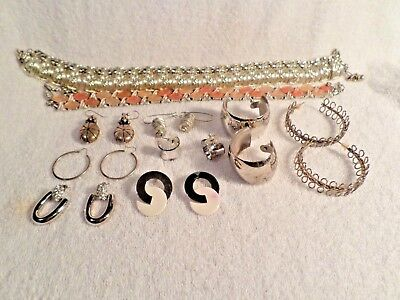 Lot of 10 Vintage.Asst Jewelry Items 2 Necklaces and 8 Earrings