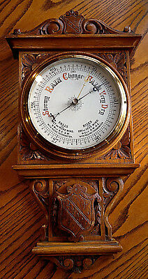Antique English Armorial Carved Oak Aneroid Barometer with Porcelain Dial  22""