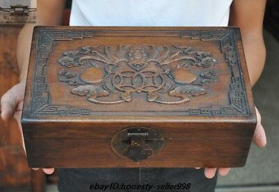 Chinese old Huanghuali wood Carving wealth animal bat statue storage box boxes