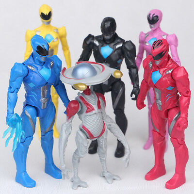 6 PCS Power Rangers Yellow Black Blue Red Pink Movie Action Figure Gift Toy us1