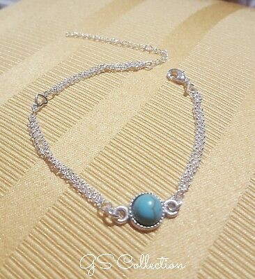 925  Sterling Silver Double Chain bracelet w/ round Antique Turquiose  charm .