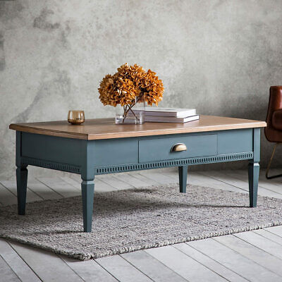 Bronte Painted Mahogany Solids Coffee Table with Single Drawer in Storm Blue