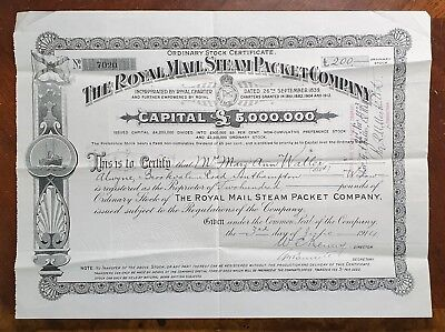 1914 The Royal Mail Steam Packet Company Share Certificate