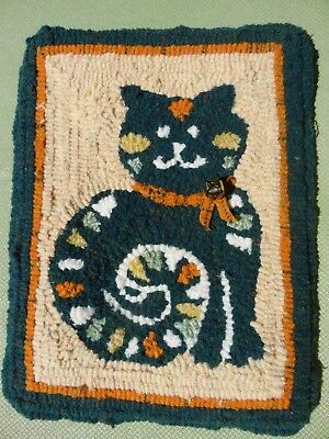 "Hand Made Primitive Style Hooked Rug Cat with bell Design Fall Colors 12"" x 9"""