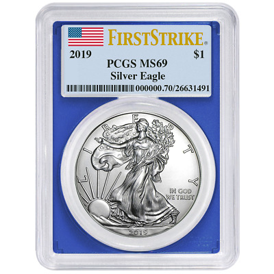 2019 $1 American Silver Eagle PCGS MS69 First Strike Flag Label Blue Frame