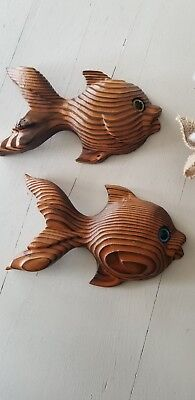 Vintage Wooden Fish Wall Hanging or Plaque  9 inches long set of 2