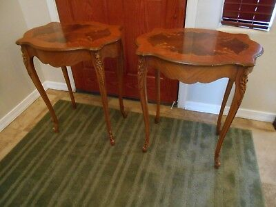 Beautiful Pair French End or Side Tables Inlaid Wood Carved