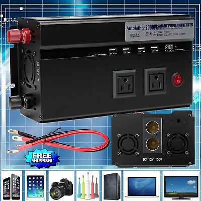 2000W 4000W(Peak) DC 12V AC 110V Car Converter Power Inverter Electronic Charger