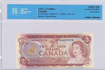 BANK OF CANADA REPLACEMENT 2 DOLLARS 1974 BC-47aA *RA6570170 - CCCS UNC-64