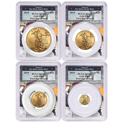 2019 American Gold Eagle 4pc. Set PCGS MS70 FDOI West Point Frame