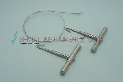 "OR Grade Gigli Saw Set 2 Handles & 20"" Wire Orthopedic Neurology Instruments"