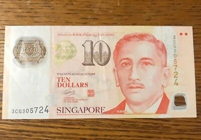 SINGAPORE $10 TEN DOLLAR BANKNOTE POLYMER PAPER Current