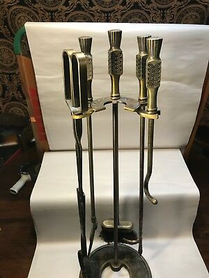 Antique ORNATE VICTORIAN BRASS FIREPLACE TOOLS SET Vtg Regency Provincial RARE