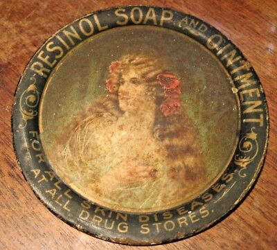 Antique 1910 Vintage Resinol Soap and Ointment METAL Tip Tray Ashtray