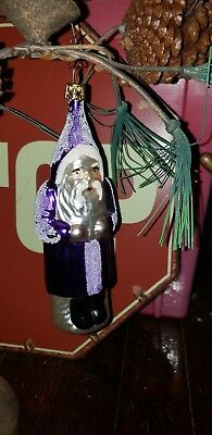 "PURPLE Santa Claus Glass Christmas Ornament Made in Germany 6"" Vintage"