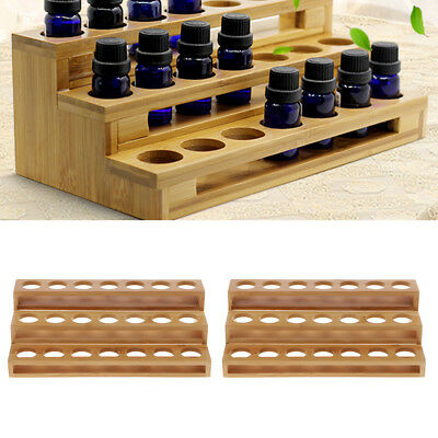 2x Bamboo Essential Oil Bottle Display Stand Cosmetic Bottles Organizer Rack