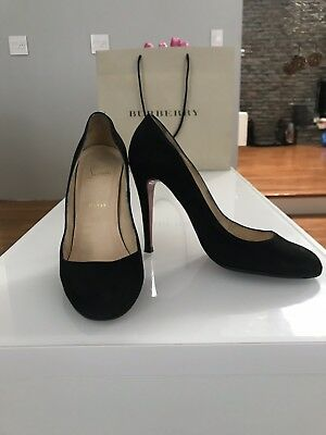 Christian Louboutin Womens Pumps Size 41 11 Black Suede Round Toe Slim Heel 9ce36fc88