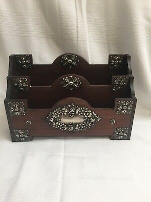 * Antique Rosewood and Sterling Silver Letter Holder 1900 amzing piece