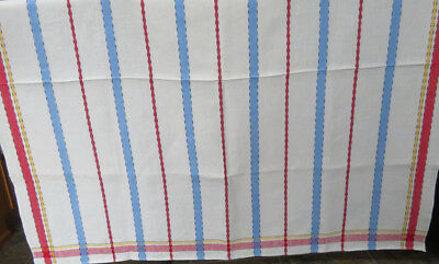 Vintage Woven Linen Tablecloth Red Blue Yellow Stripes