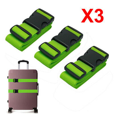 3PCS Travel Baggage Packing Buckle Tie Belt Lock Luggage Suitcase Straps Green