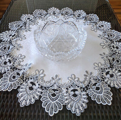 """24"""" Doily Silver Gray Lace Antique White Ivory Dresser Scarf Table Topper Round"""