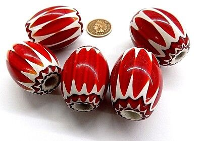 XL  RED Chevron Trade Bead 6 layer antique style native african   L1598