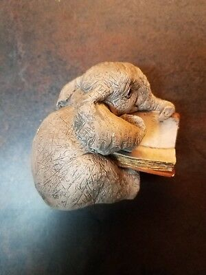 Elephant Reading A Book Statue By Stone Critters Made In USA