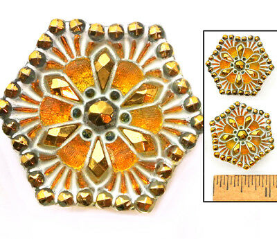 RADIANT 27mm Vintage Czech Glass GOLD Fire AB Lacy HEXAGON Nailhead Buttons 2p