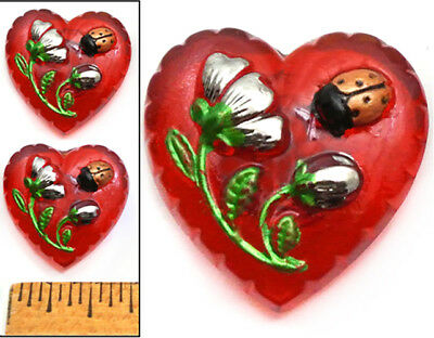 SWEET SHAPE 22mm Vintage Czech Glass RED HEART w/Flower + Ladybug Buttons 2pc