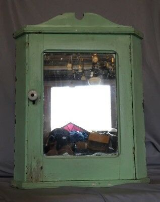 Antique Wood Medicine Cabinet Corner Cupboard Mirror Shabby Vtg Chic 10-19C