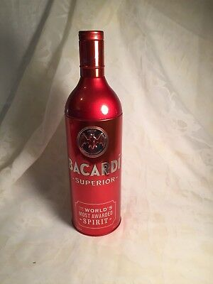 BACARDI Superior Rum Bottle Aluminum/Tin Canister, Cover w/ Removable Lid Red