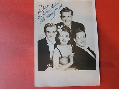 """5X7"""" Photo of  Autograph Reads to Barbara with best wishes """"The Merry Macs"""""""